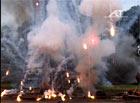 Battle simulation pyro, sparks and smoke